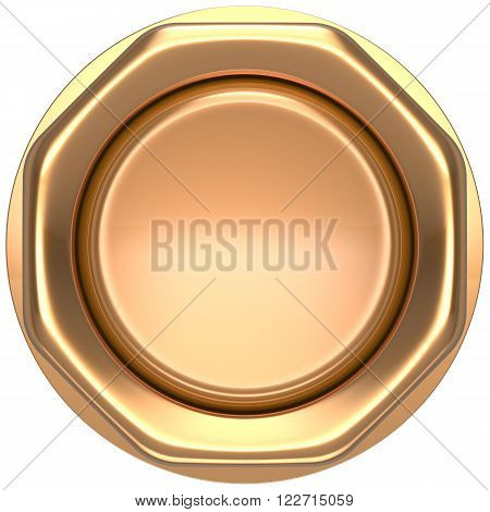 Button gold push down activate luck casino power switch start turn on off action ignition electric design element metallic shiny blank golden yellow