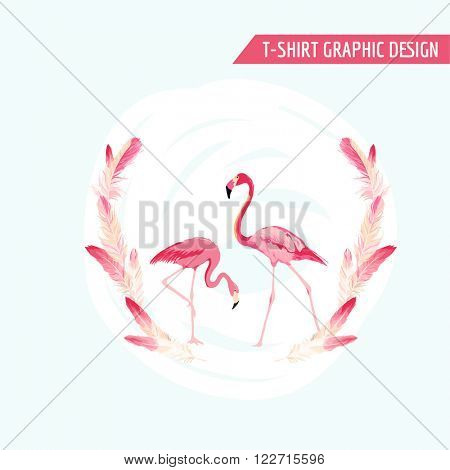 Tropical Graphic Design. Flamingo Birds. Tropical Background. T-shirt Design. Fashion print. Vector Background. Tropical Summer Card.