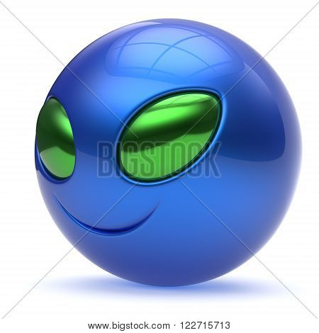 Smiley alien face head cartoon cute emoticon monster ball blue green avatar. Cheerful funny smile invader person character toy laughing eyes joy icon concept. 3d render isolated