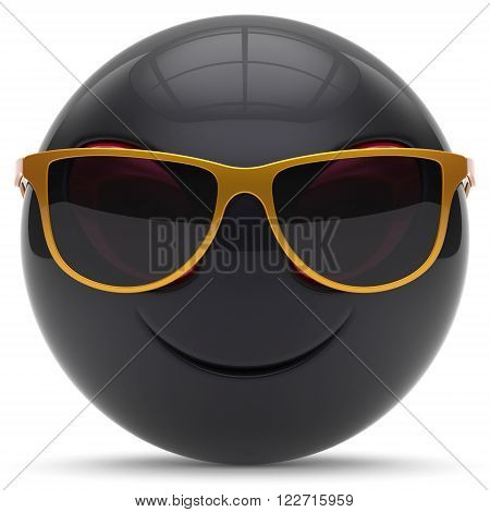 Smiley head emoticon alien face sunglasses cartoon cute monster ball black golden avatar. Cheerful funny smile invader person character toy laughing eyes joy icon concept. 3d render isolated