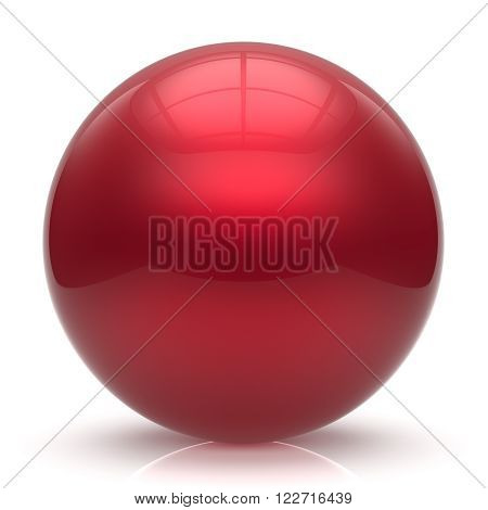 Sphere button ball red round basic circle geometric shape solid figure simple minimalistic element single shiny glossy sparkling object blank balloon atom icon scarlet. 3d render