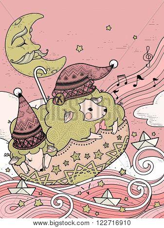 Magic Sheep Coloring Page