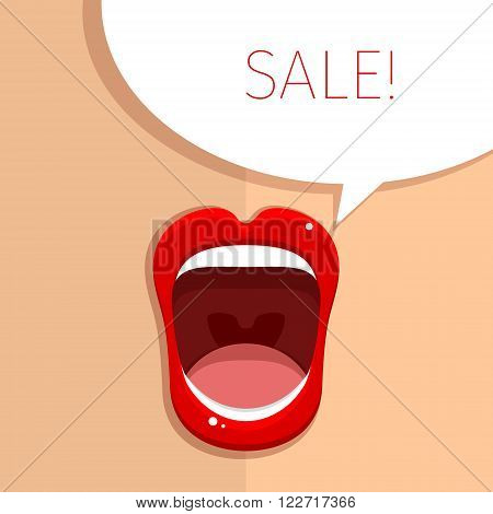 Womans mouth with open red lips. Vector Illustration.