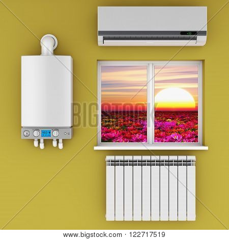 climatic equipment on the wall near a window. poster