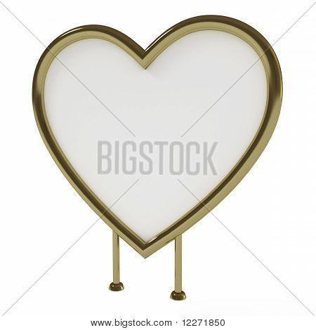 Heart-Shaped Golden Sign Board, Blank, Isolated on White with Clipping Path