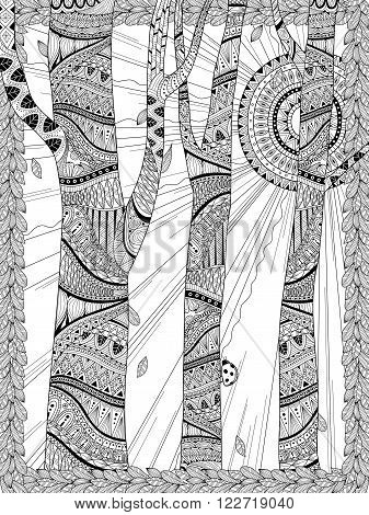 Mysterious Forest Coloring Page