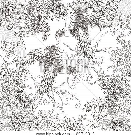 Beautiful Flying Bird Coloring Page