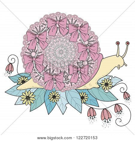 sumptuous snail coloring page in exquisite line
