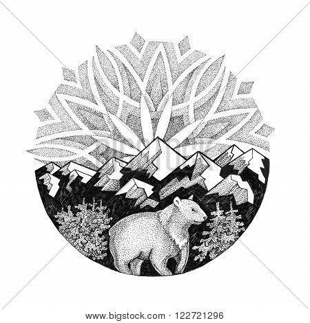 Tattoo. Polar Bear on background of snowy mountains and Aurora