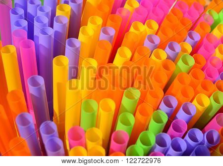 Colorful drinking straws, plastic drinking straws for background