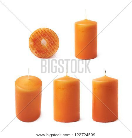 Single orange wax candle isolated over the white background, set of five different fore shortenings