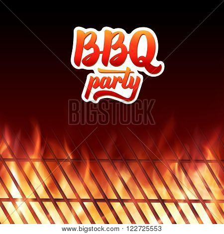 Barbecue party poster template. BBQ text lettering logo. Close-up of BBQ grill and realistic burning fire flames. Vector illustration