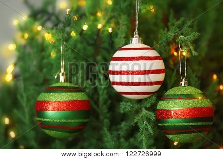 Christmas baubles on a fir tree branch