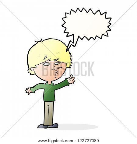 cartoon worried man reaching with speech bubble