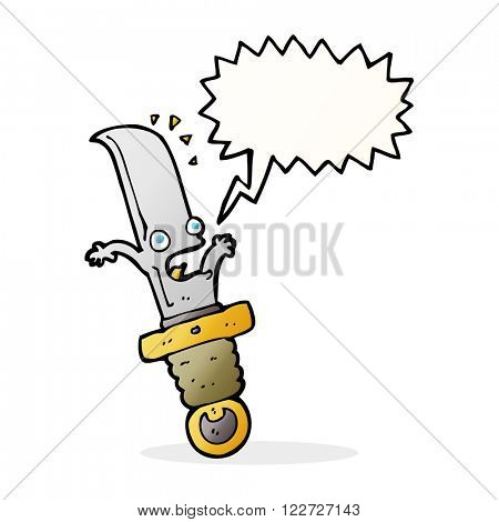 cartoon frightened knife with speech bubble