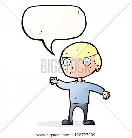 cartoon waving man with speech bubble