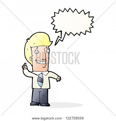 cartoon office man with idea with speech bubble