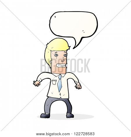 cartoon nervous businessman with speech bubble