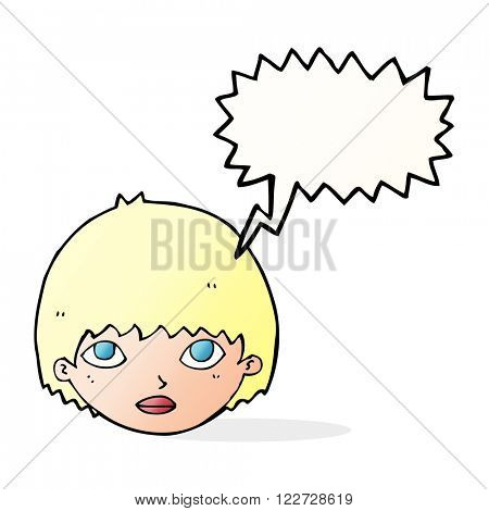 cartoon girl staring with speech bubble