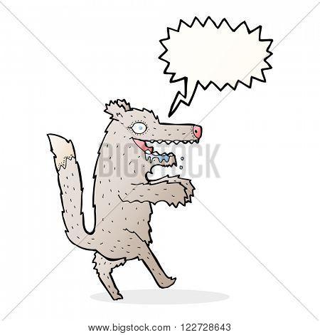 cartoon big bad wolf with speech bubble