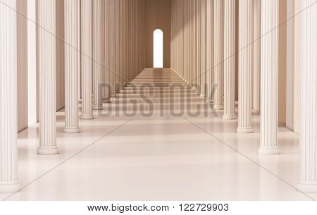 Corridor with roman pillars and bright light at the exit, 3d rendered
