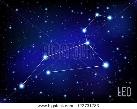 Leo vector Zodiac sign bright stars in cosmos. blue and black background