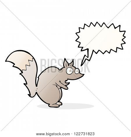funny startled squirrel cartoon with speech bubble