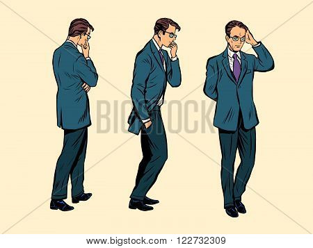 Businessman retro. Businessman EPS. Businessman vector. Businessman concept. Businessman illustration. Businessman business theme. Businessman thinking. Businessman isolated. Businessman walking.