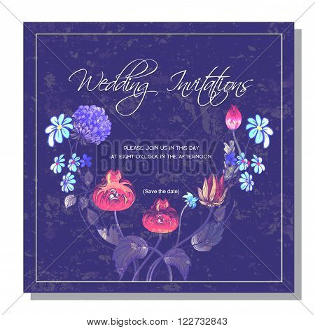 wedding invitation decorated with vintage stylized red poppy and acanthus leaves