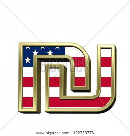 Sheqel sign from american flag alphabet set isolated over white. Computer generated 3D photo rendering.