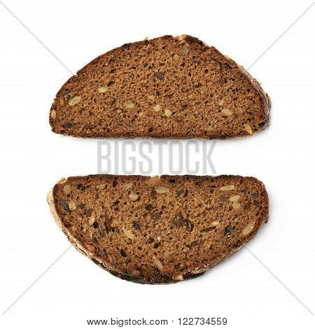 Single piece of bread isolated over the white background, set of two different fore shortenings