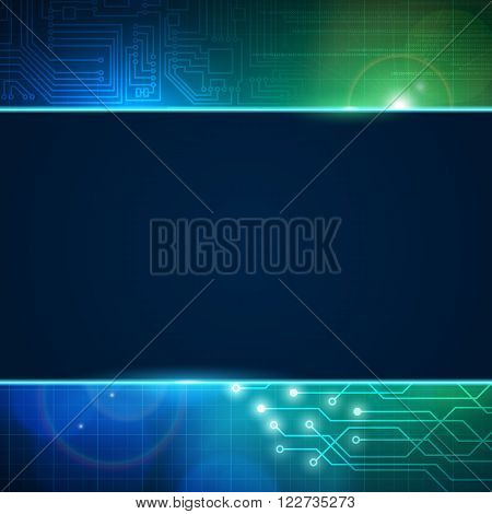 Abstract circuit board vector background with empty space for text. Processor and chip engineering motherboard and computer design vector editable illustration.