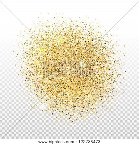 Gold dust on transparent background. Gold glitter background. Golden shiny background for card, gift, certificate, flyer, present