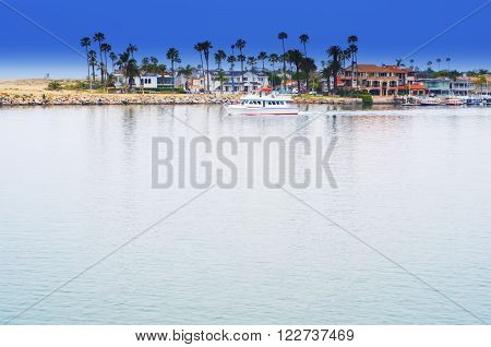 Newport Bay Balboa Island California USA blue sky