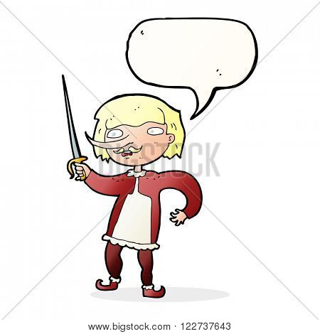 cartoon musketeer with speech bubble