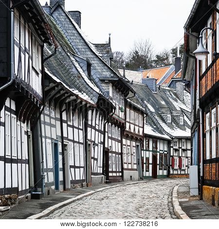?alf-timbered houses of Goslar in winter, Harz, Germany