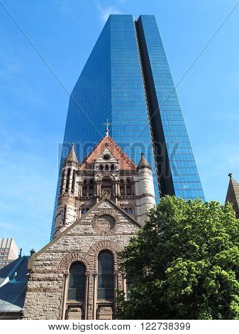 Trinity Church and John Hancock Tower in Boston, MA