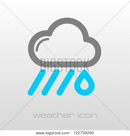 RRain Cloud outline icon. Downpour rainfall. Weather. Vector illustration eps 10