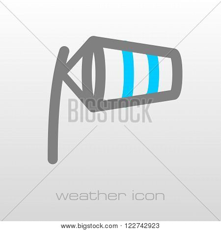 Windsocks inflated by wind at the airport runway. Meteorology. Weather. Vector illustration eps 10