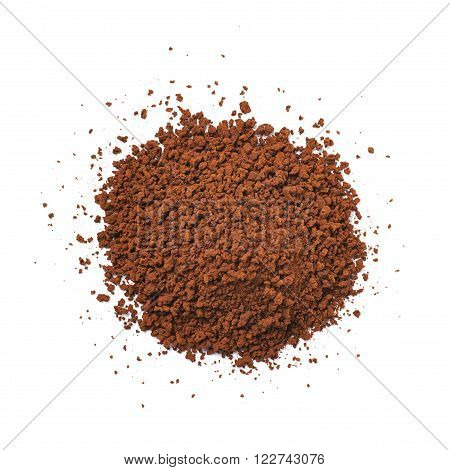 Pile of instant coffee grains isolated over the white background