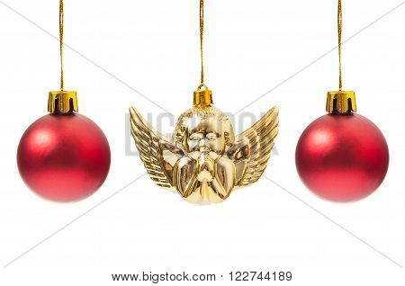 Red Globes And One Christmas Angel Decoration
