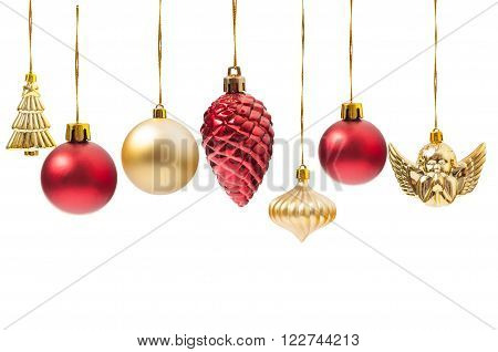 Hanging Christmas globes or various decorations isolated on white background