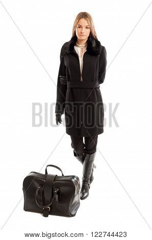 Fashionable Female Model Ready For Business Travel