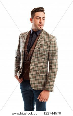 Male Model Wearing Retro Casual But Elegant Clothes