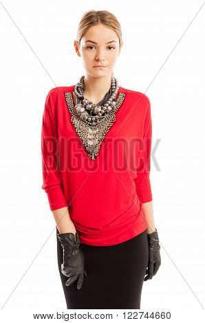 Young Female Model Wearing Red Blouse With Many Accessories