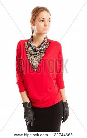 Red Blouse, Black Skirt, Leather Gloves And Metal Accessories