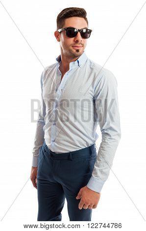 Beautiful Male Model Wearing Open Shirt And Tight Pants