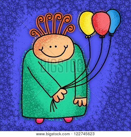 Cute cartoon doodle of a happy person holding a bunch of party balloons.