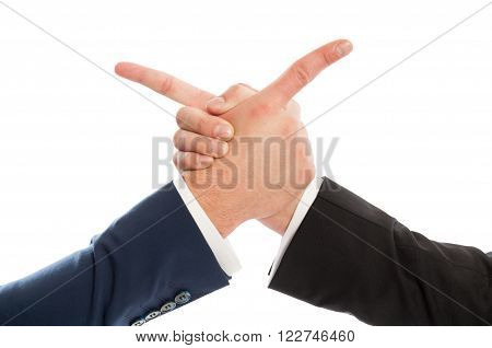 Business Men Shaking Hands And Pointing At Each Other