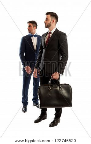 Two Business People Looking On The Right Side